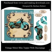 Vintage Motor Bike Topper & Decoupage