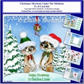 8x8 Christmas Meerkats Under Mistletoe Card Kit & Ass Greetings
