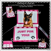 GSD Dog In A Pink Box - Box Card Kit With Greetings Tags