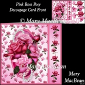 Pink Rose Posy Decoupage Card Front
