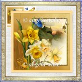 Daffodils at sunset 7x7 card with decoupage
