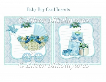 Cottage Chic Baby Boy Card Inserts