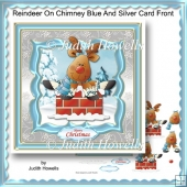 Reindeer On Chimney Blue And Silver Card Front