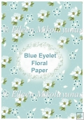 Blue Eyelet Floral Backing Background Paper