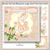Bonnet Girl And Blossoms Large Card Front And Insert