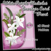 White Purple Gladiolus Envelope Card Front