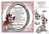 8 x 8 Aquarius Zodiac Birthday Gemstone Dragon Decoupage Card