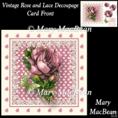 Vintage Rose and Lace Decoupage Card Front