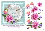 Pink Roses & Dragonfly 6 x 6 Card Topper With Decoupage