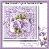 Lilac Roses In Organza Frame Card Front