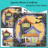 Spooky Halloween House Cardfront with Decoupage