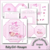 Baby Girl ~ Hexagon with Decoupage.