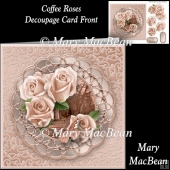 Coffee Roses Decoupage Card Front