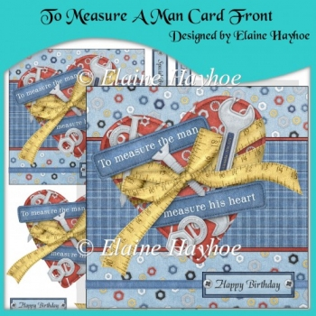 To Measure A Man Card Front with Decoupage