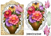 Pretty flowers in a vase on lace with script & butterflies