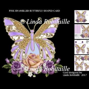 Pink Enamelled Butterfly Shaped Card