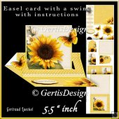 Easel Card With A Swing yellow sunflower