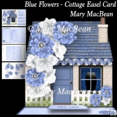 Blue Flowers - Cottage Easel Card