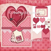 Pink Love Heart Shape Peek a Boo Card