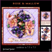 Lace Flowers Butterlies Roses Mallow topper 907