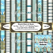 Beach Huts & Boats - Set One - Ten 12 x 12 Printable Paper