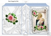 Mary holding baby Jesus on a scroll with roses A5 Folded book