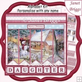 SNOWMAN'S COTTAGE Christmas 7.5 Quick Card Kit Create Any Name
