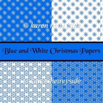 Blue And White Christmas Papers