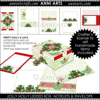 JOLLY HOLLY NOTELET STATIONERY BOX