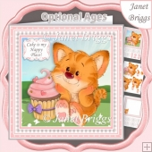 BABY TIGER & CUPCAKE 7.5 Decoupage Insert & Ages Kit