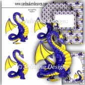 Blue and Yellow Dragon Decoupage Set