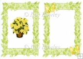 Pretty yellow flowers with butterflies & bow A5 Insert