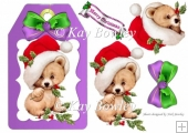 cute bear on a purple tag with santa hat and bow