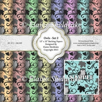 "Owls Set 2 - Eight 12"" x 12"" Backing Papers - CU/PU"