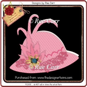 965 Ladies Hat and Roses Shaped Card Multiple MACHINE Formats