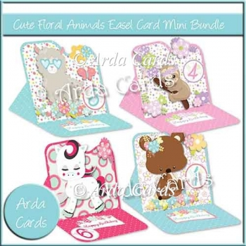 Cute Floral Animals Easel Cards Mini Bundle