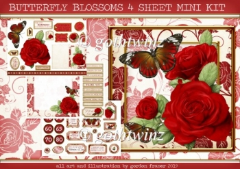 BUTTERFLY BLOSSOMS 4 SHEET MINI KIT Red