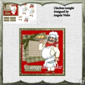 Chicken tonite card with decoupage