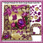 Twilight Roses On Gold Large Easel Card Kit