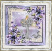 Lady and the lilies 7x7 card with decoupage