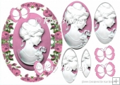 Pretty cameo lady with pink butterflires and roses oval pyramids