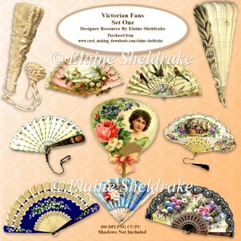Victorian Fans Set One Designer Resource PNG 300 dpi CU PU