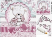 cute cuddle bear with pink bow on lace & fur 8x8