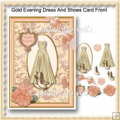 Gold Evening Dress And Shoes Card Front