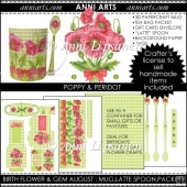 Birth Flowers and Gems August: 3D Mug, Spoons, Packets, Paper