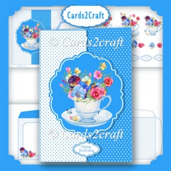 Teacup and flowers foldback card set
