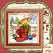 Christmas Puss in Boots 8x8 Decoupage & Insert Kit