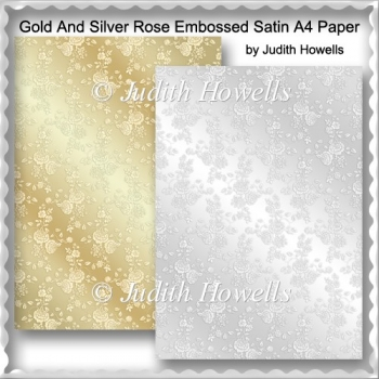 Gold And Silver Rose Embossed Satin A4 Paper