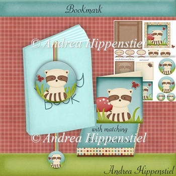 Bookmark with box and notecard Racoon