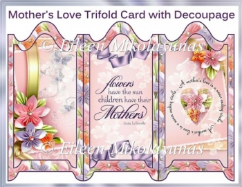 Mother's Love Trifold Screen Card Set with Envelope & Decoupage